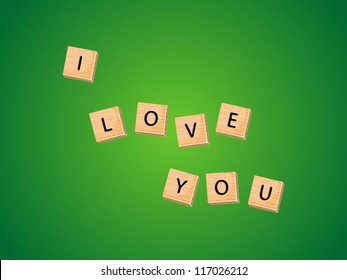 I love you message on wooden tiles