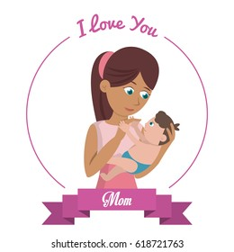 i love you mom card woman carries baby