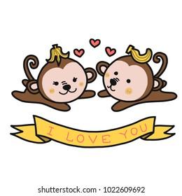 I love you monkey couple cartoon vector illustration doodle style