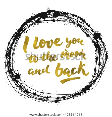 Love You Moon Back Gold Calligraphic Stock Vector (Royalty Free ...
