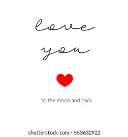 Love you to the moon and back, postcard for St Valentines
