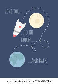 love you to the moon and back quote card valentine universe poster
