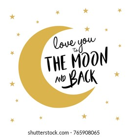 love you the moon and back quote with stars.