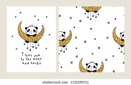 I love you to the moon and back. Set of Greeting card with heart and cute pandas on the moon. Seamless pattern for gift wrap, textile or book covers, wallpapers and scrapbook. Vector.
