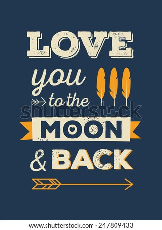 Love You Moon Back Quote Romantic Quote Romantic Card Love Stock