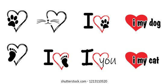 i love you i love my dog or cat Vector footprints footsteps steps fun funny Animals foot feet hound dog dogs paw woof meow puppy paws toy bones bone i love valentine day Animal day pet lovers sitter
