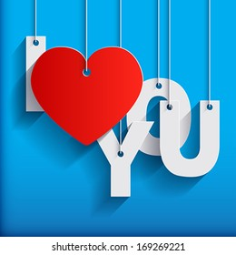I LOVE YOU - Paper Origami background or card. Vector illustration.