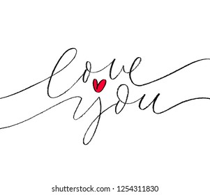 Love you phrase with red heart. Romantic quote for Valentine day. Hand drawn brush style modern calligraphy. Vector ink illustration of handwritten lettering. Isolated on white background.