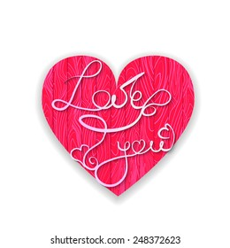 Love you phrase in the wooden textured pink heart. Can be used for Valentine's Day card design.