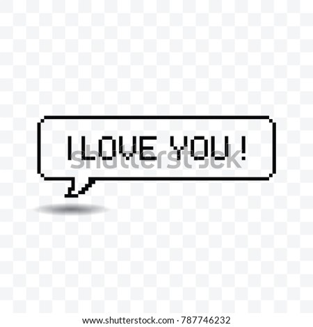 i love you pixel art speech bubble vector illustration on transparent background