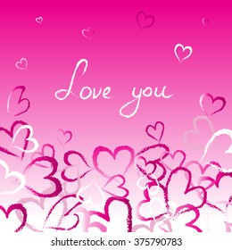 Love you - Romantic illustration. Pink abstract hearts illustration.