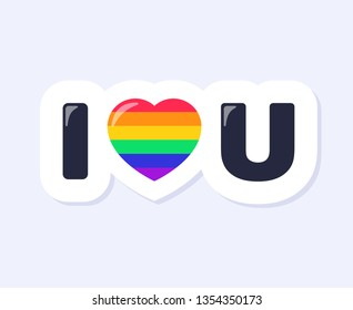 I Love You Sign. LGBTQ+ related symbol in rainbow colors. Gay Pride. Raibow Community Pride Month. Love, Freedom, Support, Peace Symbol. Flat Vector Design Isolated on White Background