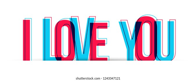 I Love You sign text. Vector illustration