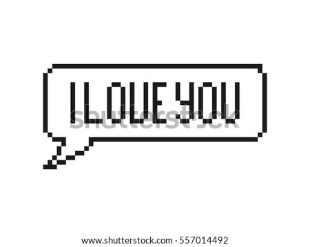 i love you in speech bubble 8 bit pixel art on white background