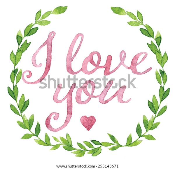 Love You Tag Painted Pink Violet Stock Vector Royalty Free 255143671
