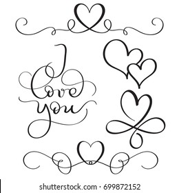 I love you text with hearts on white background. Hand drawn Calligraphy lettering Vector illustration EPS10