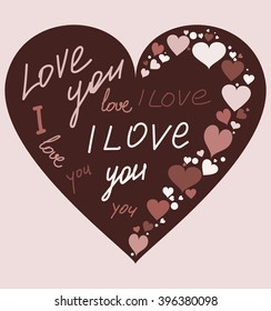 I love you. The text on the heart. Background chocolate. Vector.