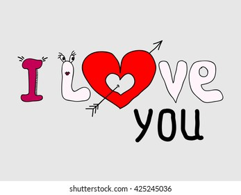 I Love you text a red heart. Vector Illustration.