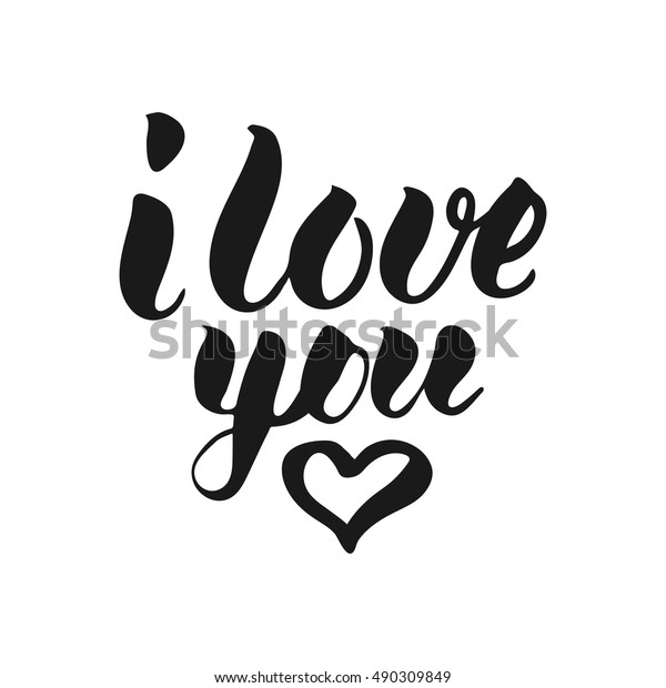 I Love You T-shirt print. Cute badge. Hand lettering and calligraphy for designs: t-shirts, baner, poster, greeting cards. Vector brush typography illustration