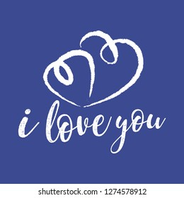 I love you typography vector. One line hearts