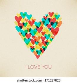 I love you valentine retro hearth vector card design. layered.
