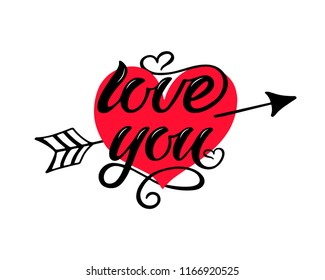 Love You vector hand draw lettering with hart. Love You vector illustration for postcard, greeting card and banner. Love You lettering logo.