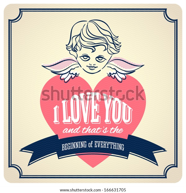Love You Vintage Valentine Cards Ornaments Stock Vector