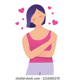 Love your self/body concept vector illustration, woman hugging her self with loves sign