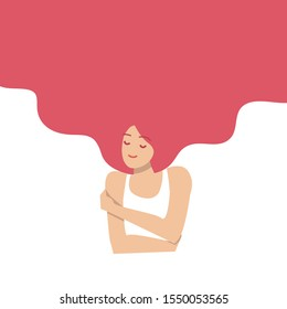 Love yourself concept. Vector illustration flat design style. Happy woman hug herself with heart background. Love your body concept. Girl Healthcare Skincare.