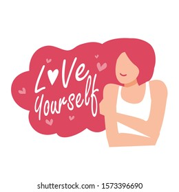 Love yourself concept. Vector illustration flat design style. Happy woman hug herself. Love your body concept. Girl Healthcare Skincare and Haircare.