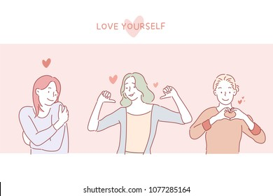 Love Yourself Girls on Postcard. hand drawn style vector doodle design illustrations.