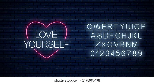 Love yourself - glowing neon inscription phrase with alphabet on dark brick wall background. Motivation quote in neon style. Vector illustration.