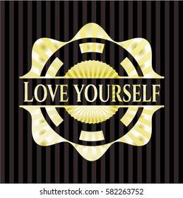 Love Yourself golden emblem or badge