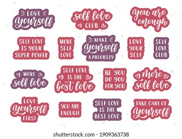 Love yourself hand drawn lettering set. Self care quotes. Template for, banner, poster, flyer, greeting card, web design, print design. Vector illustration.