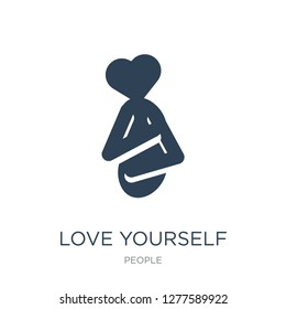 love yourself icon vector on white background, love yourself trendy filled icons from People collection, love yourself vector illustration