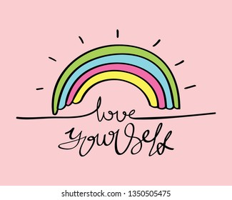 Love yourself inspirational quote concept on pink / Vector illustration design for t shirts, prints, posters, stickers etc
