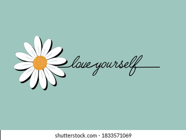love yourself  lettering daisy hand drawn margarita  mariposa stationery,mug,t shirt,phone case fashion slogan  style spring summer sticker and etc red retro vintage suglasses funny cheerful