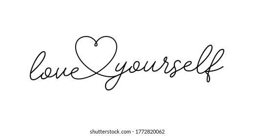Love yourself lettering vector isolated on white with golden heart for logo, t-shirt design, and print for girls' clothes and apparel.