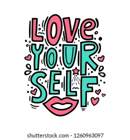 Love yourself - motivational quote. Modern brush pen lettering. Love yourself hand made color text. Handwritten printable design, trendy phrase for t-shirts, cards. Vector illustration.