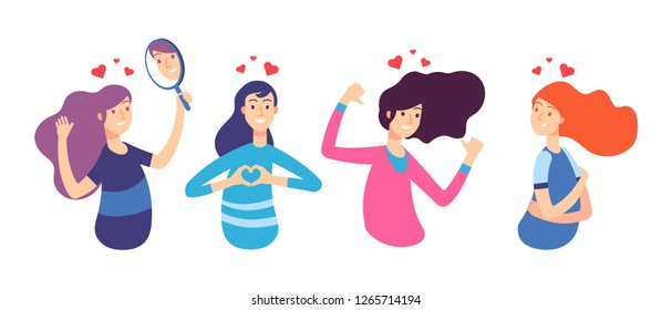 Love yourself. Narcissistic, self-confident people hugged themselves. Loving oneself men and women. Vector characters set
