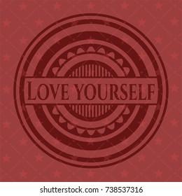 Love Yourself retro red emblem