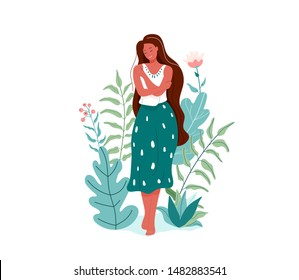 Love yourself vector illustration. Smiling woman hug herself. Body care design concept. Floral nature elements.