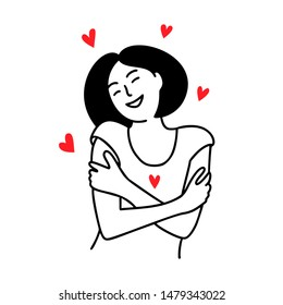Love yourself. Love your body concept. Girl Healthcare Skincare. Take time for your self. Vector illustration. Woman hugging herself with red hearts on white background. Line doodle style.