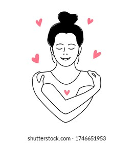 Love yourself. Love your body concept. Coloring page. Girl Healthcare Skincare. Take time for your self. Vector outline illustration. Woman hugging herself with hearts on white background. Line style
