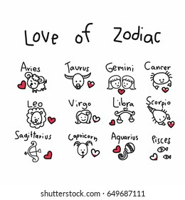 Love of zodiac cute cartoon vector illustration
