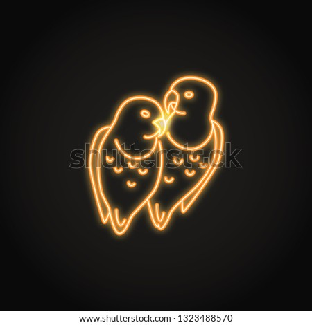 Lovebird Parrots Icon Glowing Neon Style Stock Vector (Royalty Free