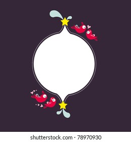 Lovebirds banner. Romantic lovebirds invitation element with space for own copy.