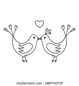 Lovebirds kiss. A couple of birds in love. Simple decorative design element. The outline illustration is hand-drawn, isolated on a white background. Black white vector