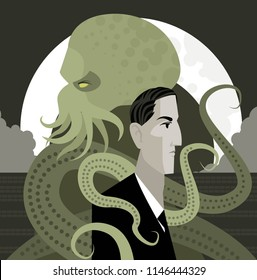 lovecraft writer and evil cthulthu dark octopus monsters