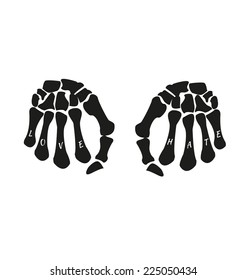 love&hate skeleton hand